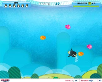 Penguin Plunge: Go underwater fishing!